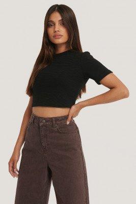 NA-KD Basic NA-KD Basic Geribd Cropped T-Shirt - Black