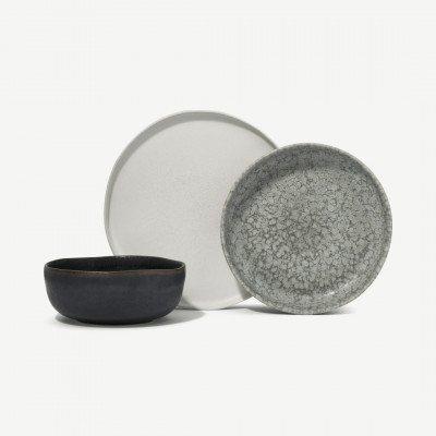 MADE.COM Zaeden reactief glazuur serviesset, gemixt, roomwit, grijsgevlekt en houtskoolgrijs