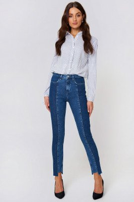 NA-KD NA-KD Panel Jeans - Blue