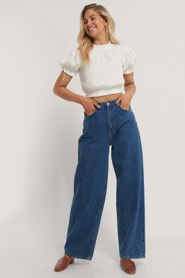NA-KD Party Cropped Frill Neck Top - White
