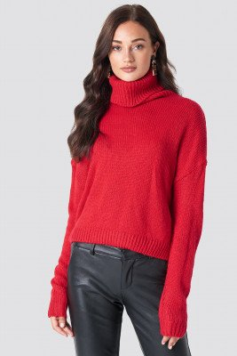 NA-KD NA-KD Folded Oversize Short Knitted Sweater - Red
