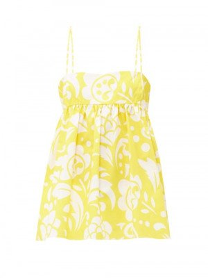 Matchesfashion Raey - Empire-waist Hippy Floral-print Cotton Cami Top - Womens - Yellow Print