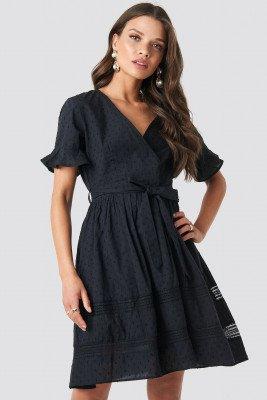 NA-KD Boho NA-KD Boho Lace Insert Cotton Mini Dress - Black