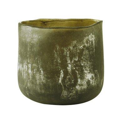 Firawonen.nl Raze green frosted glass pot round l