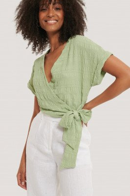 NA-KD Structured Overlap Blouse - Green