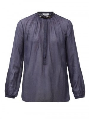 Matchesfashion Gabriela Hearst - Vlychos Leather-strap Cotton-blend Blouse - Womens - Navy