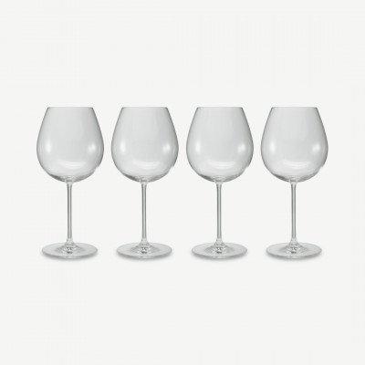 MADE.COM NUDE Glassware set van 4 glazen voor rode bourgogne, transparant