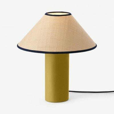 MADE.COM Haroon nachtkast lamp, goud fluweel en raffia