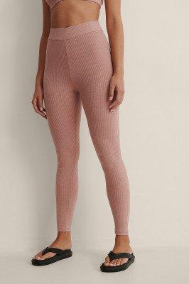 NA-KD Basic NA-KD Basic Gerecyclede Geribde Panty Met Hoge Taille - Pink