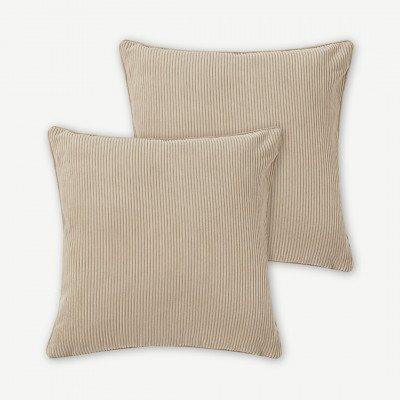 MADE.COM Selky set van 2 kussen van ribfluweel, 50 x 50cm, zacht taupe
