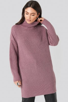 NA-KD NA-KD Oversized Roll Neck Sweater - Purple
