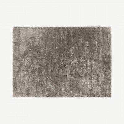 MADE.COM Merkoya extragroot vloerkleed van luxe viscose, 200 x 300 cm, grijs