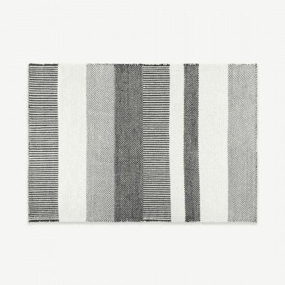 MADE.COM Malay gestreept vloerkleed van wol, groot, 160 x 230cm, zwart en wit