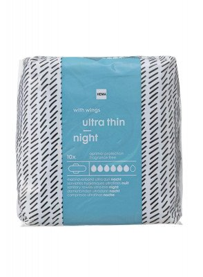 HEMA Maandverband Ultra Dun Nacht 10 Stuks
