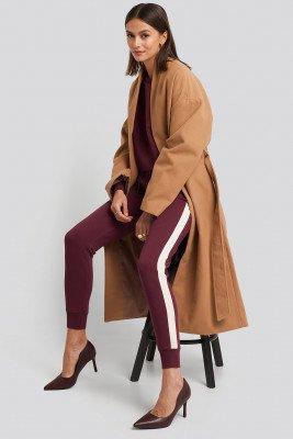 NA-KD Contrast Panel Slim Leg Joggers - Burgundy
