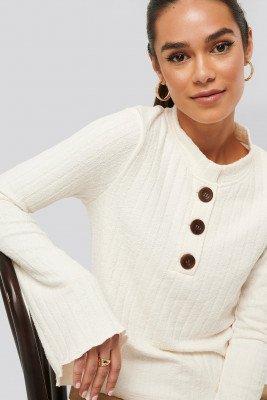 NA-KD NA-KD Asymmetric Bell Sleeve Ribbed Sweater - White