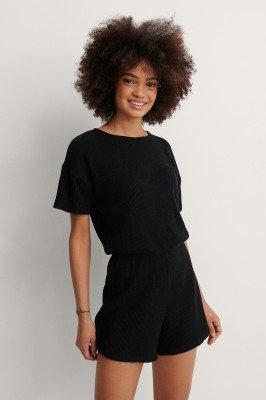 NA-KD Lingerie NA-KD Lingerie Ribbed Playsuit Pyjamas - Black