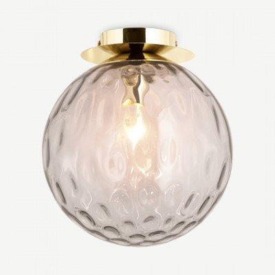 MADE.COM Ilaria badkamer plafondlamp, opaalroze en messing