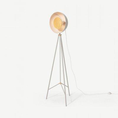 MADE.COM Ward staande lamp, grijs en goudfolie