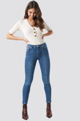 NA-KD NA-KD Skinny Mid Waist Front Panel Jeans - Blue
