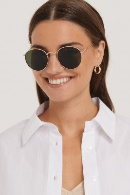 NA-KD Accessories Round Metal Sunglasses - Green,Gold