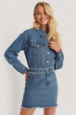 NA-KD NA-KD Mini-Jeansrok Met Franjes - Blue