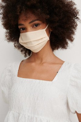 NA-KD Accessories NA-KD Accessories 2-Pack Solid Flat Masks - Offwhite