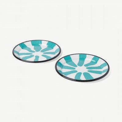MADE.COM Kapka set van 2 Colour Swirl borden, geemailleerd, groen