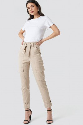 NA-KD Trend NA-KD Trend Tie Waist Patch Pocket Pants - Beige