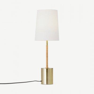 MADE.COM Lou staande lamp, rotan en messing