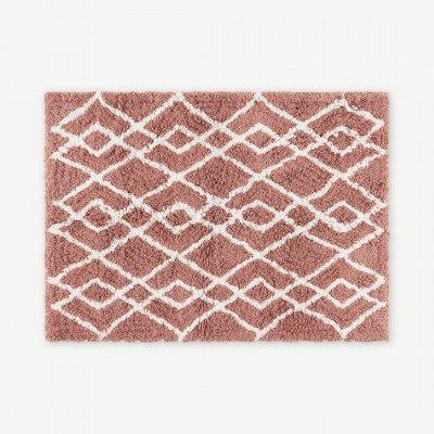 MADE.COM Fes badmat van 100% katoen, groot, 70 x 100cm, roze