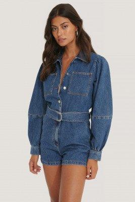 NA-KD NA-KD Jeansplaysuit Met Pofmouwen - Blue
