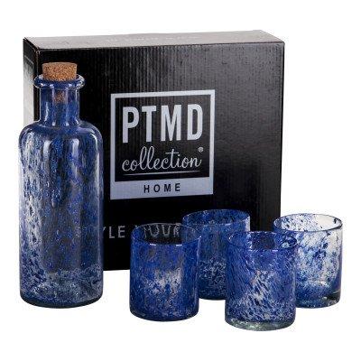 Firawonen.nl Aqua blue waterbottle 4 glasses set