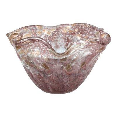 Ptmd ryas roze glazen vaas rond geribbelde rand