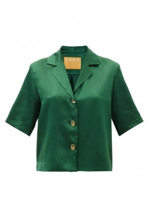 Matchesfashion S.a.r.k - Ring Pull-button Silk-satin Shirt - Womens - Dark Green