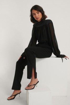 NA-KD Trend NA-KD Trend Pantalon Met Kanten Details - Black