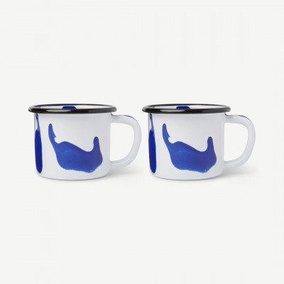 MADE.COM Kapka set van 2 Colour Swirl mokken, geemailleerd, blauw
