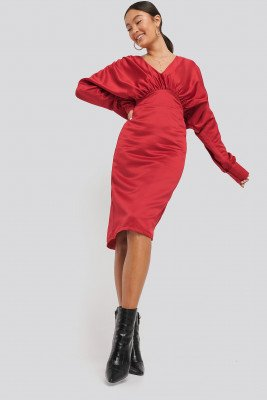 NA-KD Party NA-KD Party Gathered Dull Satin Dress - Red