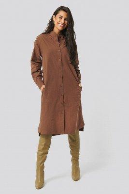 NA-KD Trend Adjustable Side Strap Shirt Dress - Brown