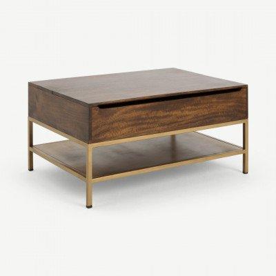 MADE.COM Lomond uitklapbare salontafel met opbergruimte, donker mangohout en messing