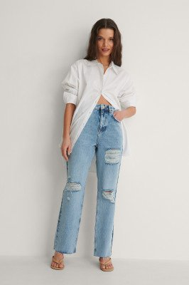 NA-KD Trend NA-KD Trend Organisch Recht Verscheurde Jeans Met Hoge Taille - Blue