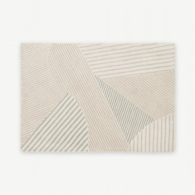 MADE.COM Kyra groot wollen vloerkleed, 160 x 230 cm, neutraal
