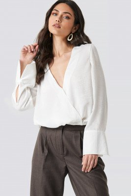 NA-KD Wrap Satin Top - White