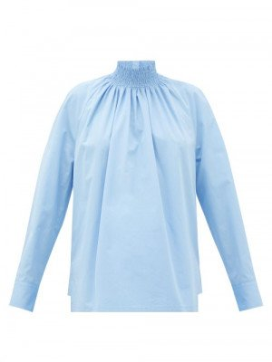Matchesfashion Prada - High-neck Cotton-poplin Blouse - Womens - Light Blue