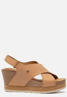 Panama Jack Panama Jack Valeska Nature B1 sandalen met sleehak beige