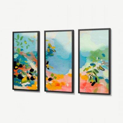 MADE.COM Ana Rut Bre, 'Garden with Sea View', set van 3 ingelijste prints, 30 x 60 cm