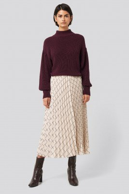 NA-KD Classic Big Check Pleated Skirt - Beige