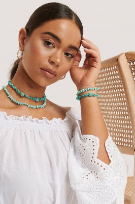 NA-KD Accessories Korte Dubbele Ketting In Turquoise - Turquoise