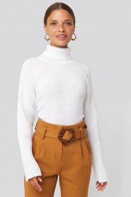 NA-KD NA-KD High Neck Ribbed Sleeves Sweater - White