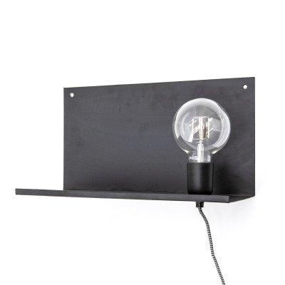 By-Boo By-Boo Wandlamp 'Hyde' met plankje 38cm, kleur zwart